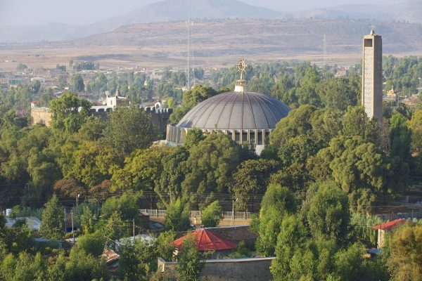 Dome and bell tower of St.Mary of Zion in Axum